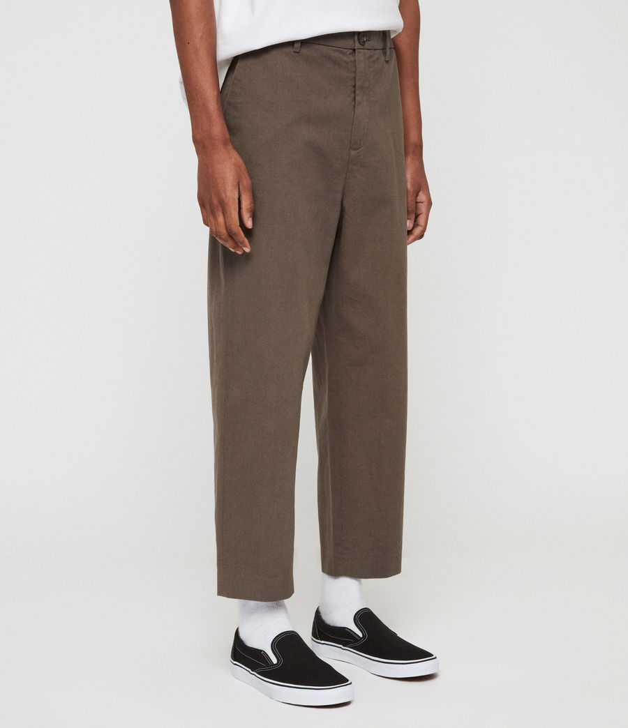 Mens Muro Cropped Tapered Chinos (dusty_khaki_green) - Image 4