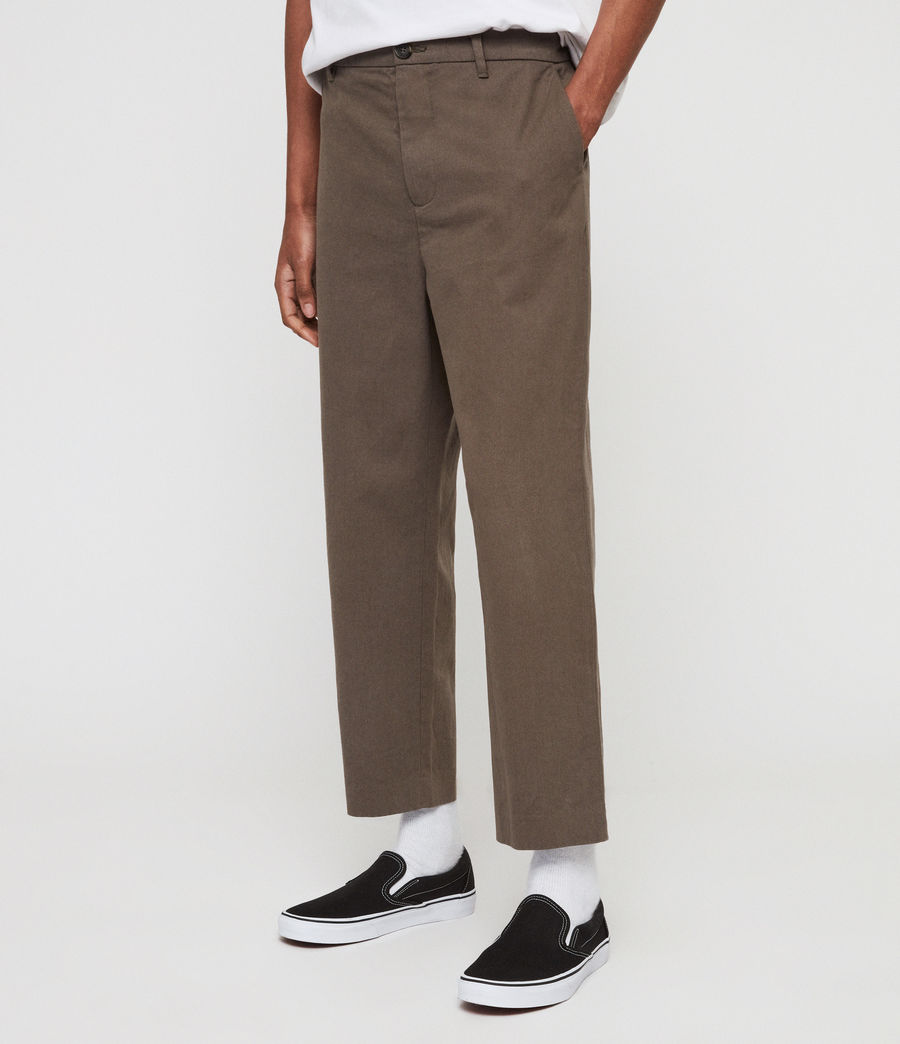 Mens Muro Cropped Tapered Chinos (dusty_khaki_green) - Image 5