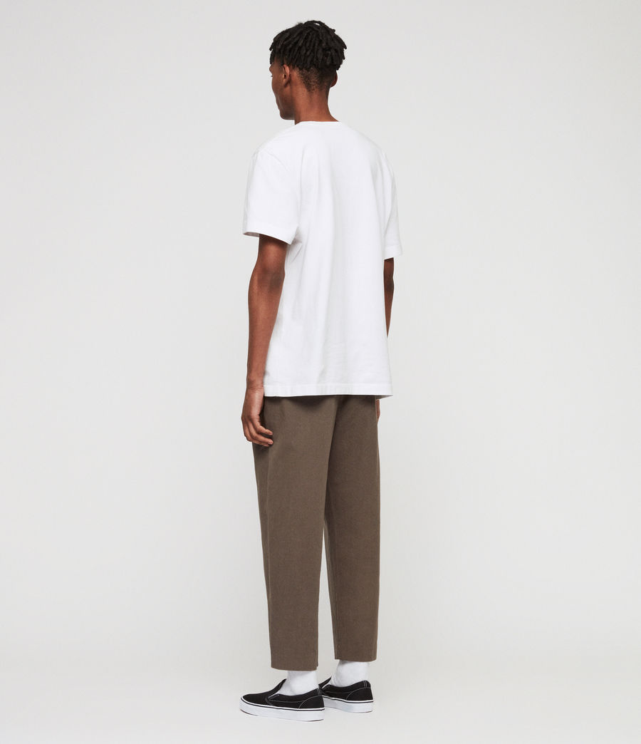 Mens Muro Cropped Tapered Chinos (dusty_khaki_green) - Image 7