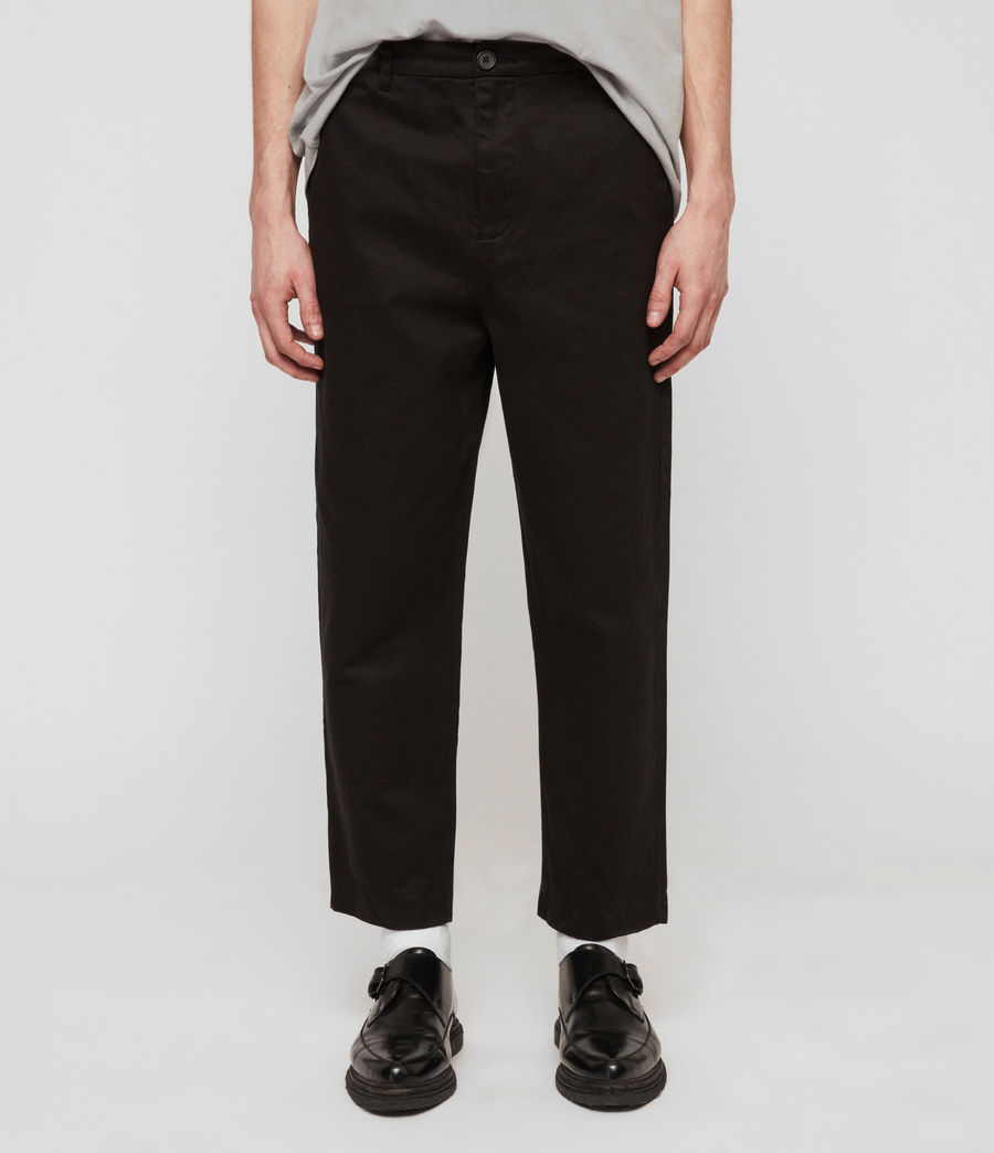 Mens Muro Cropped Tapered Chinos (black) - Image 1
