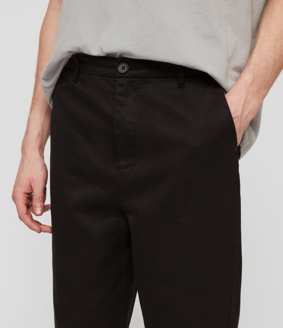 Mens Muro Cropped Tapered Chinos (black) - Image 2
