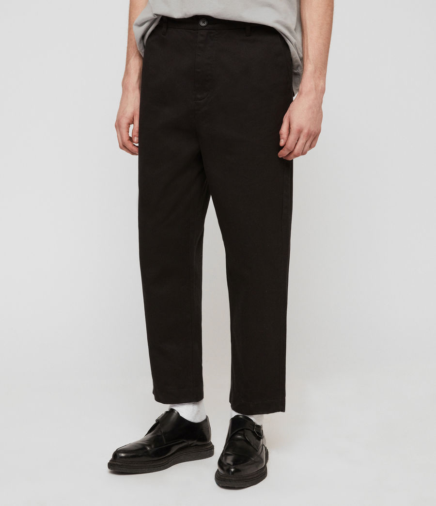 Mens Muro Cropped Tapered Chinos (black) - Image 4