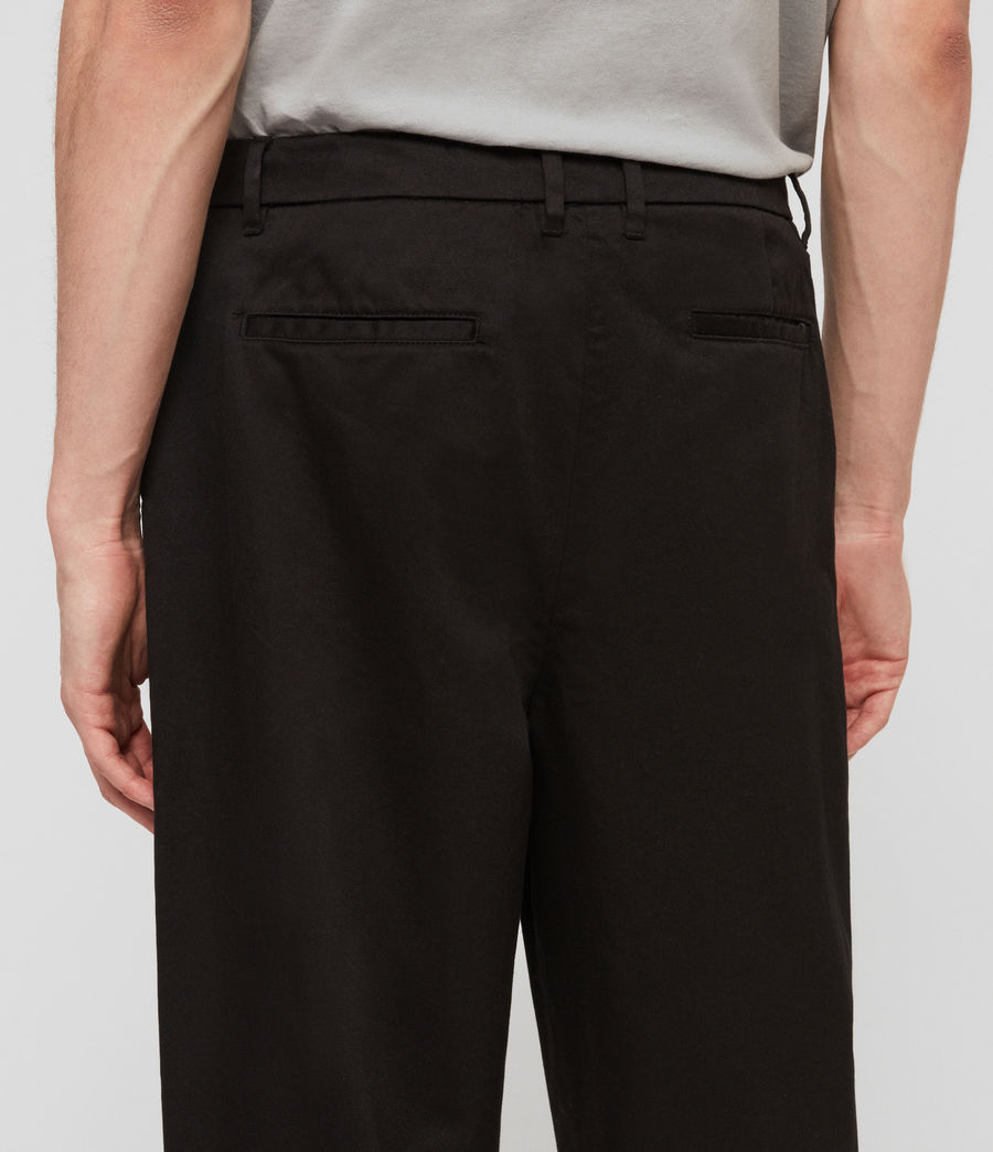 Mens Muro Cropped Tapered Chinos (black) - Image 6