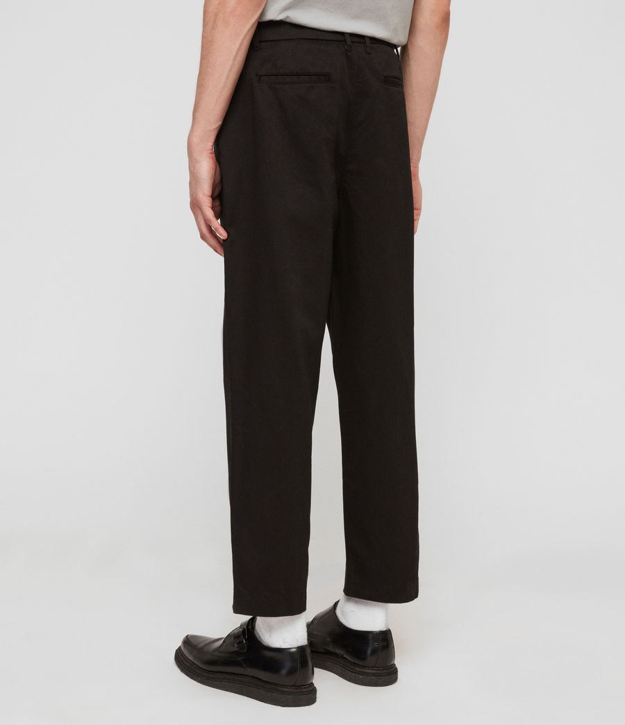 Mens Muro Cropped Tapered Chinos (black) - Image 7