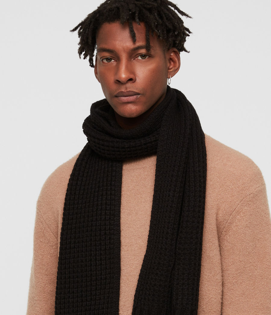 Uomo Thermal Stitch Scarf (black) - Image 2