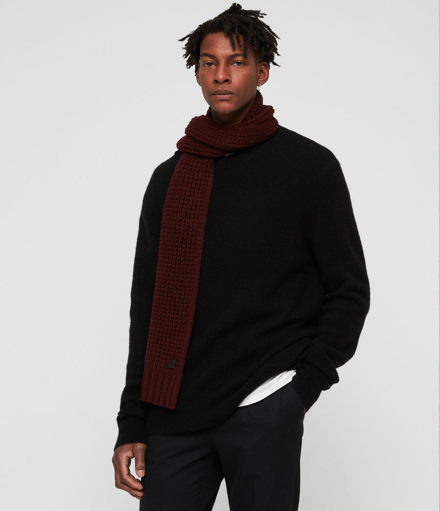 Men's Thermal Stitch Scarf (dark_rust_red) - Image 2