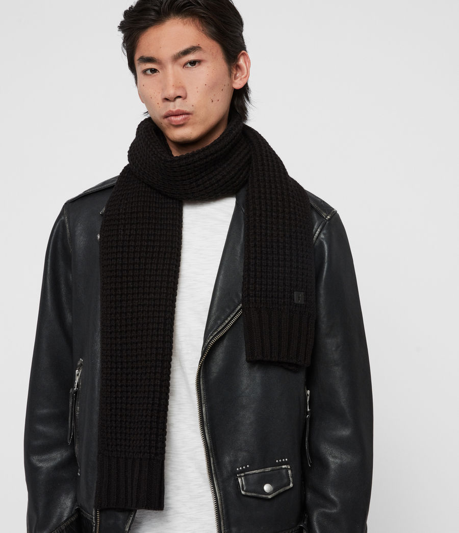 Men's Thermal Wool Blend Scarf (black) - Image 2