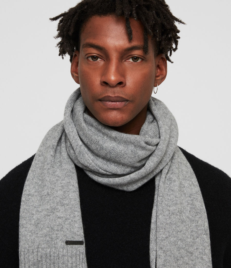 Men's Solid Cashmere Scarf (grey_marl) - Image 2