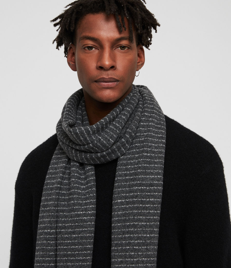 Men's Thin Stripe Scarf (cinder_black_grey) - Image 2