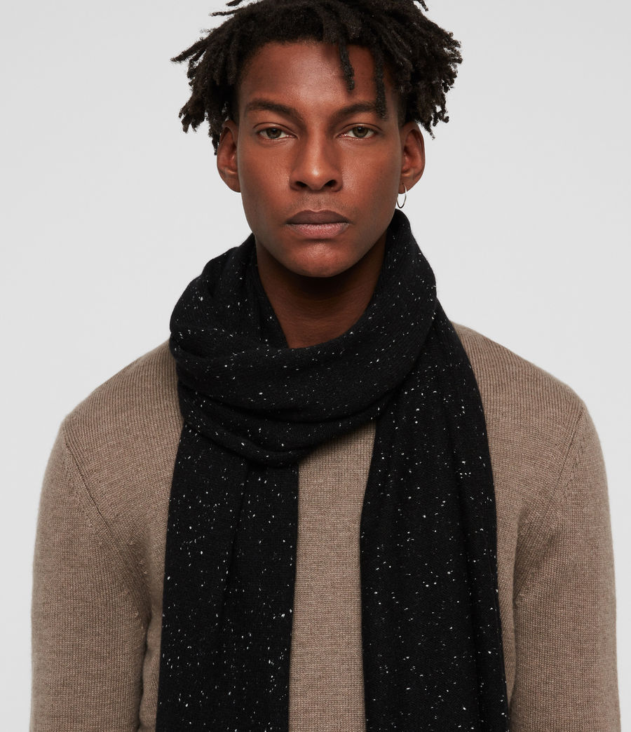Hombre Flecked Cashmere Scarf (black) - Image 2