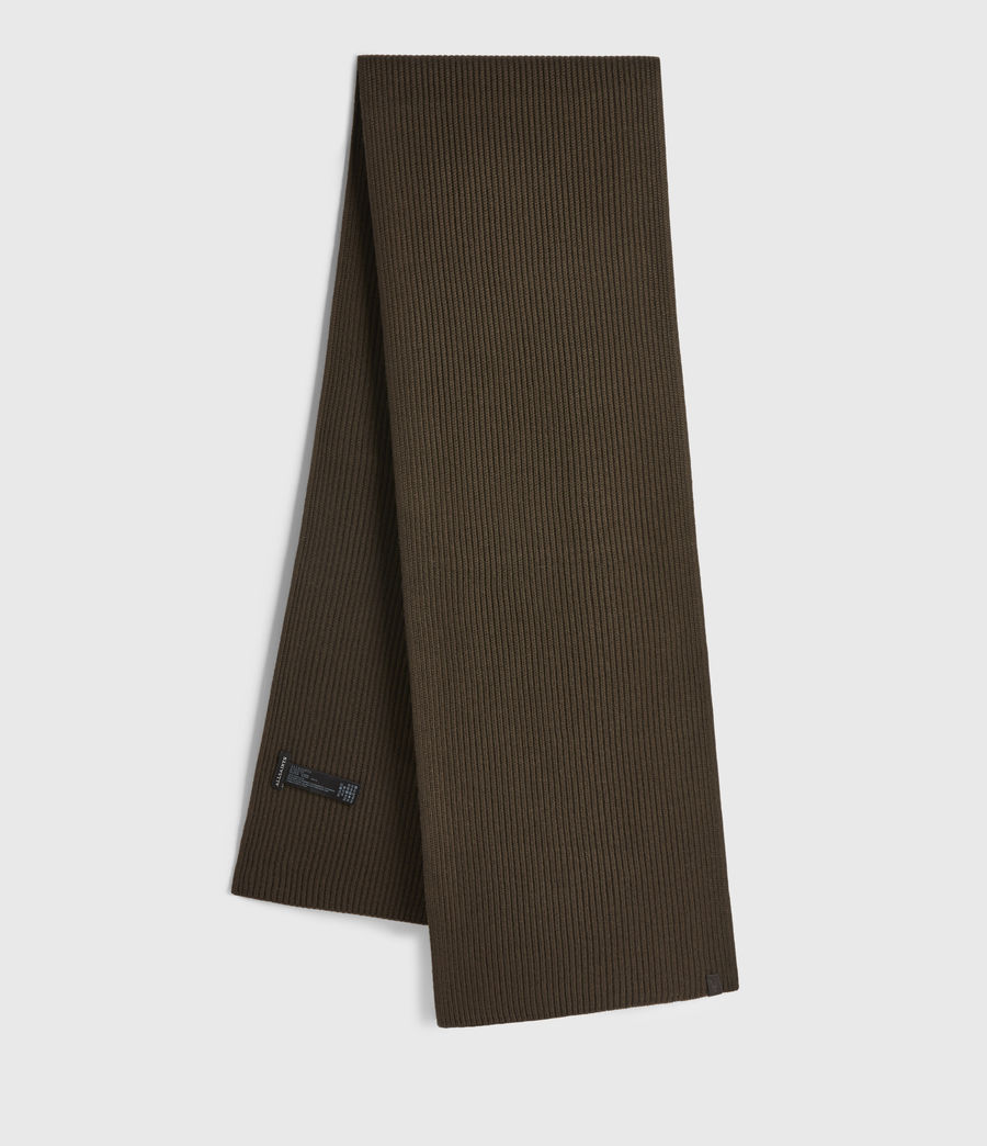 Men's Rib Merino Wool Scarf (army_green) - Image 1