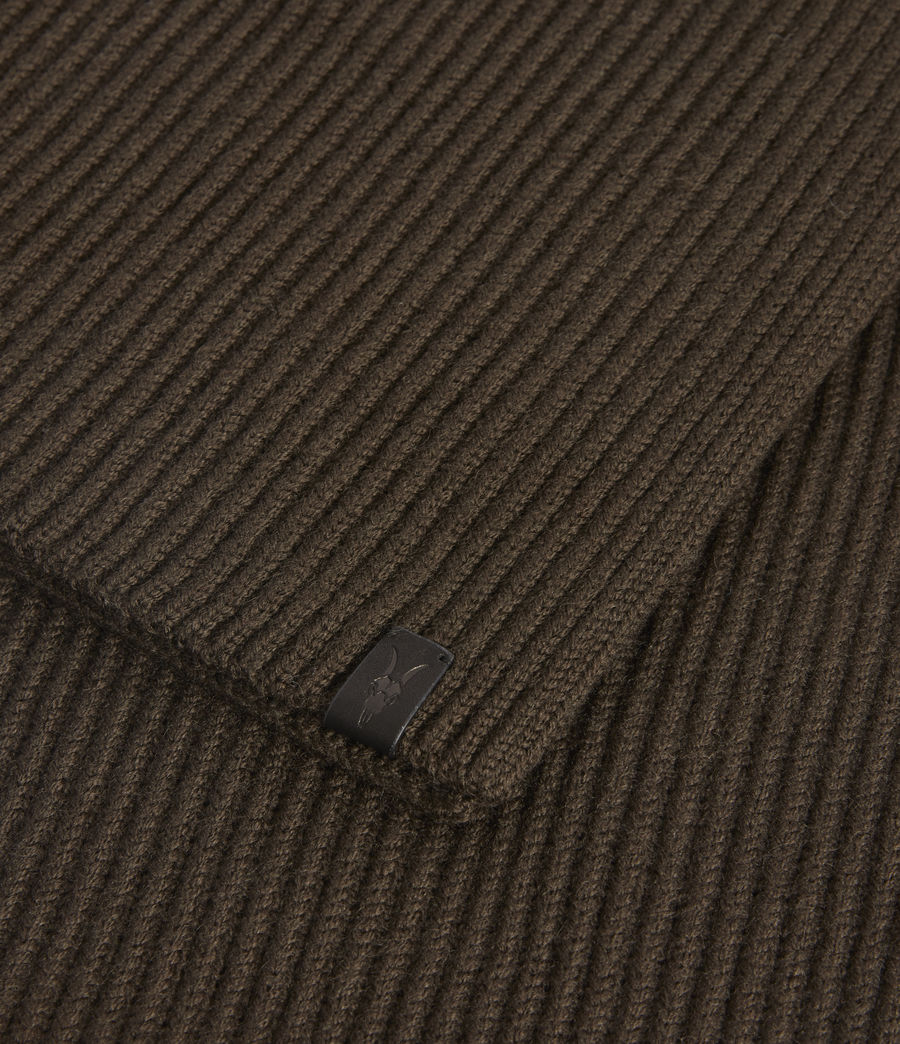 Men's Rib Merino Wool Scarf (army_green) - Image 2