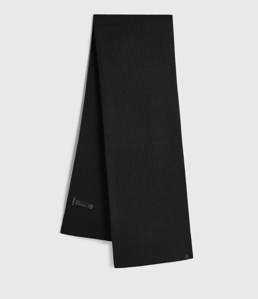 Men's Rib Merino Wool Scarf (black) - Image 1