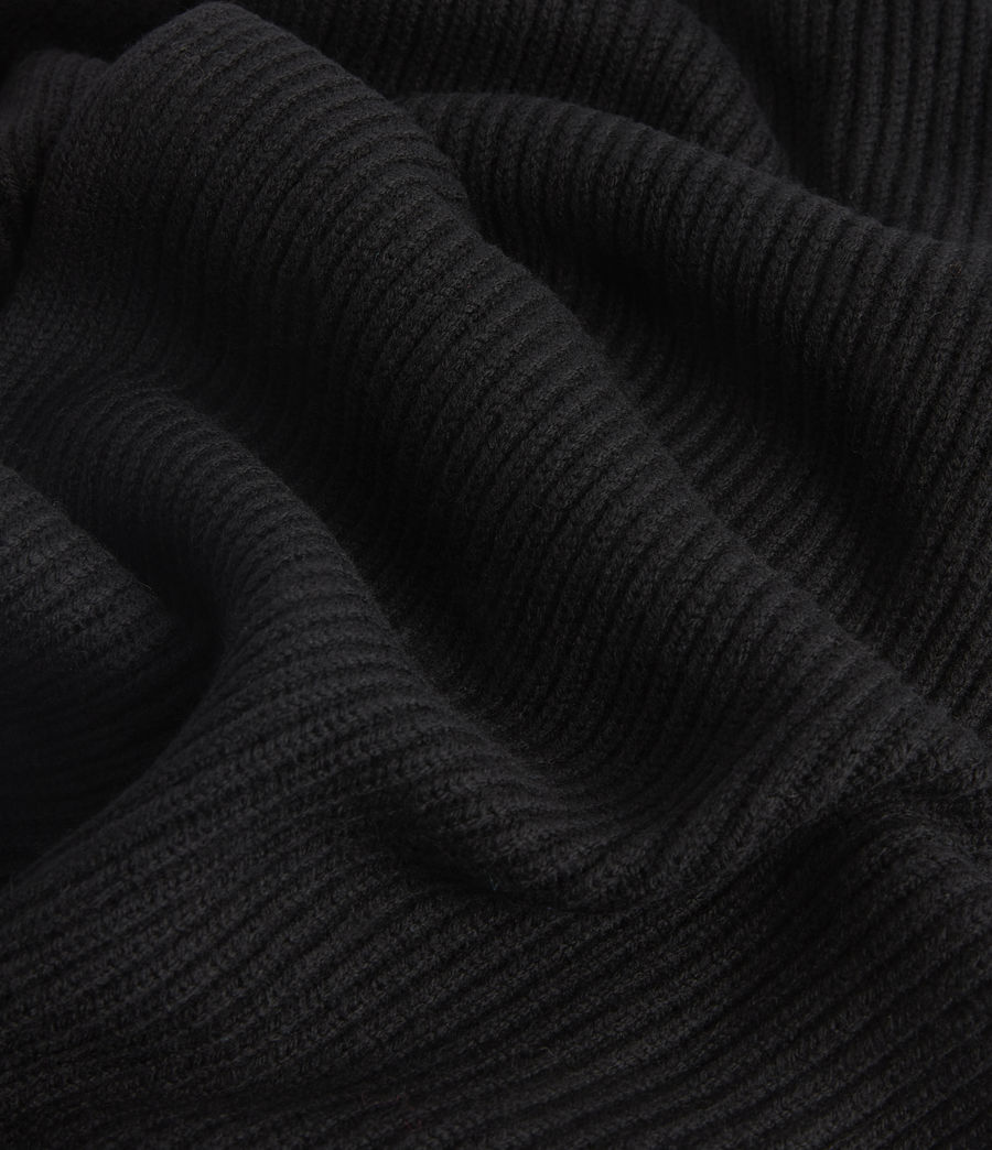 Men's Rib Merino Wool Scarf (black) - Image 3