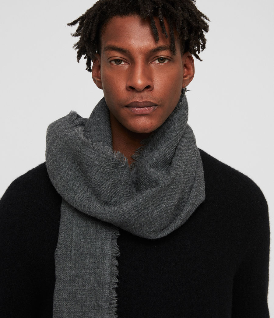Men's Solid Twill Oversize Scarf (dark_charcoal) - Image 2