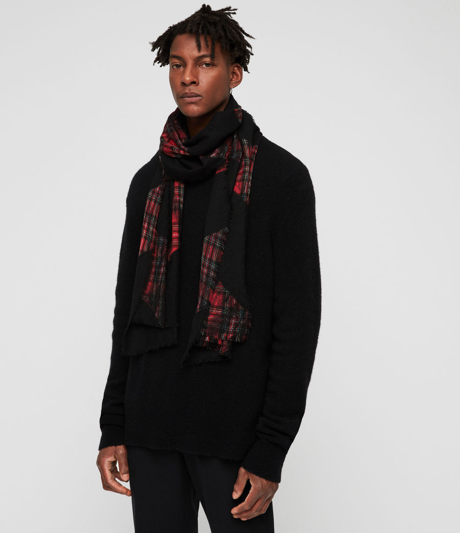 Men's Best Check Tie Dye Scarf (black) - Image 2
