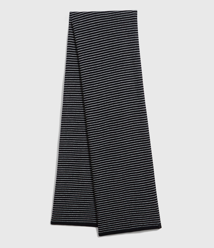 Men's Stripe Cashmere Blend Scarf (black_chalk) - Image 1