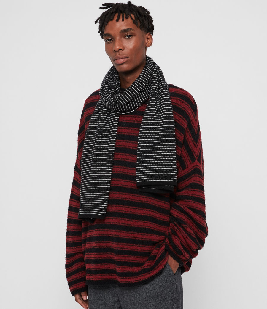 Men's Stripe Cashmere Blend Scarf (black_chalk) - Image 2