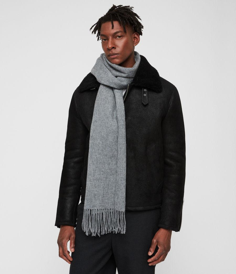 Men's Heavy Wool Blanket Scarf (grey_marl) - Image 2