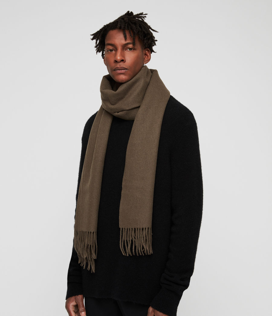Men's Heavy Wool Blanket Scarf (light_khaki) - Image 3