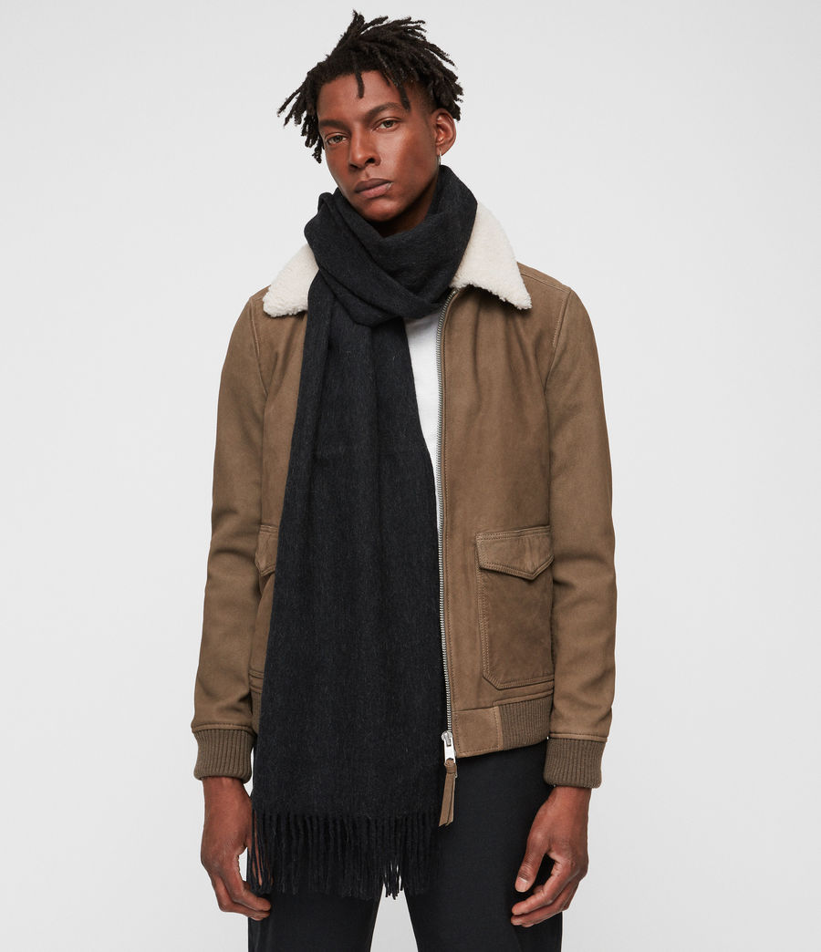 Men's Heavy Wool Blanket Scarf (cinder_black_marl) - Image 2