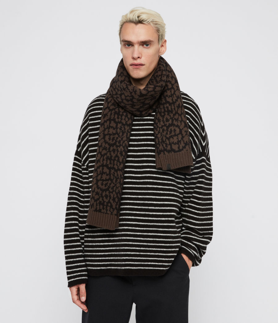 Mens Prowl Jacquard Scarf (khaki_brown_black) - Image 2
