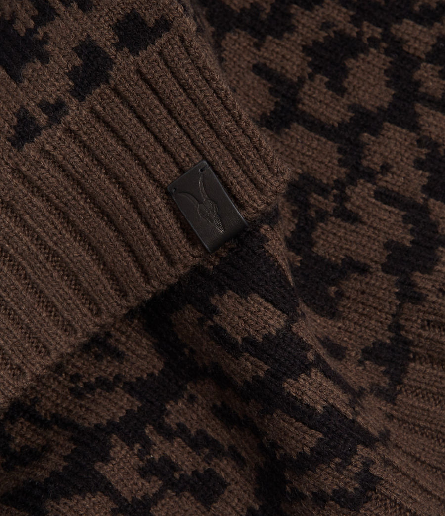 Mens Prowl Jacquard Scarf (khaki_brown_black) - Image 4