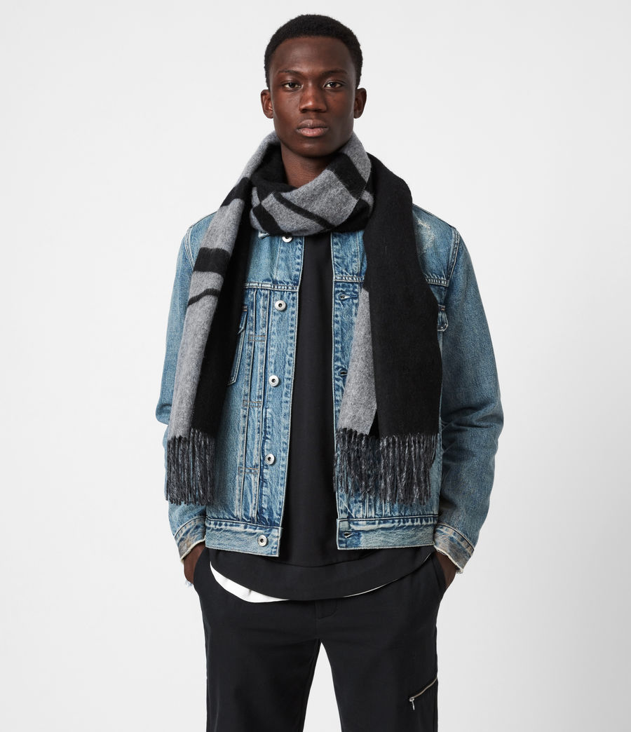 Mens Alon Reversible Wool Scarf (black) - Image 1