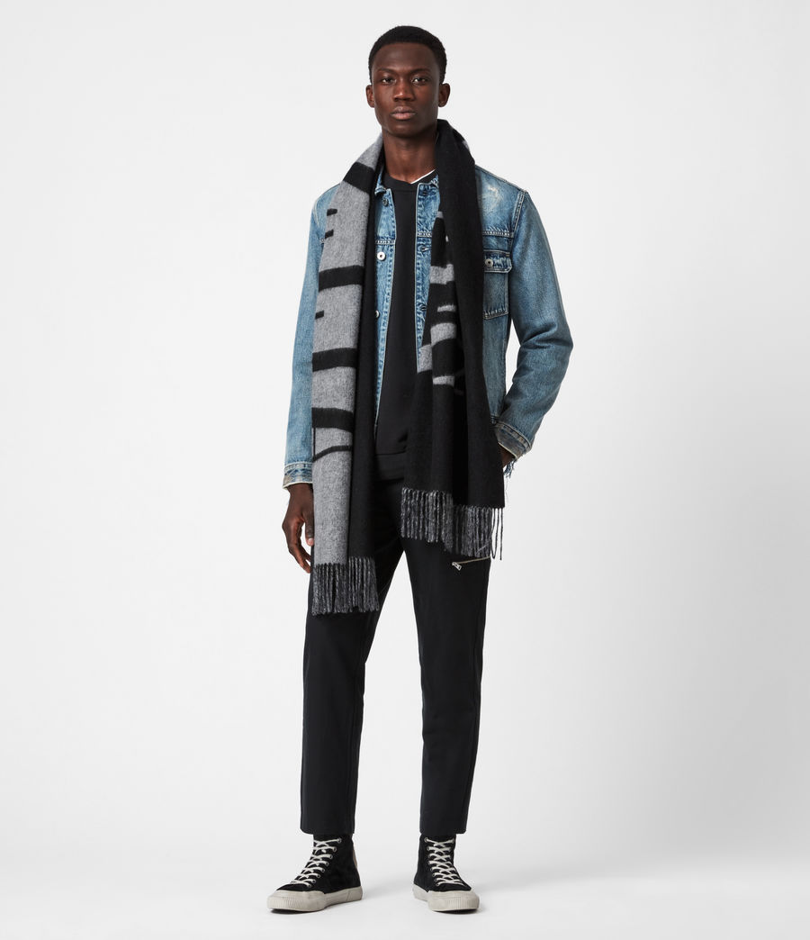 Mens Alon Reversible Wool Scarf (black) - Image 4