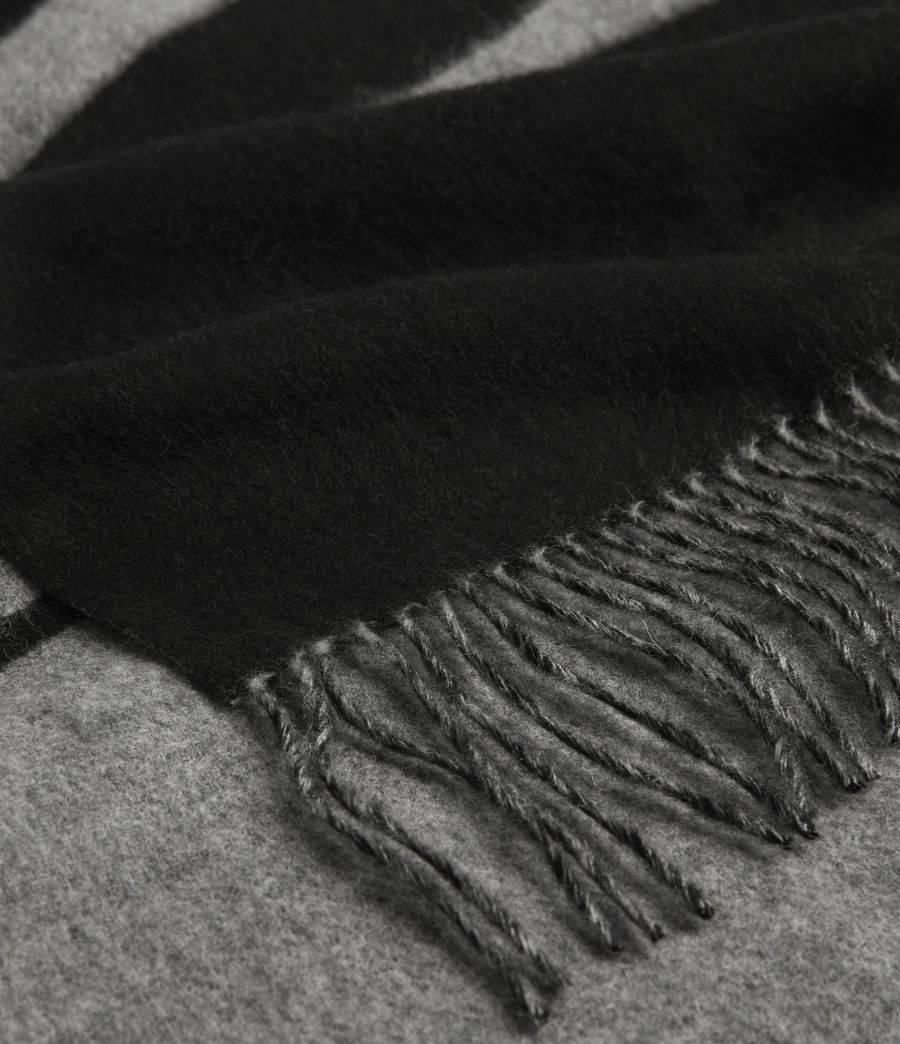 Mens Alon Reversible Wool Scarf (black) - Image 6