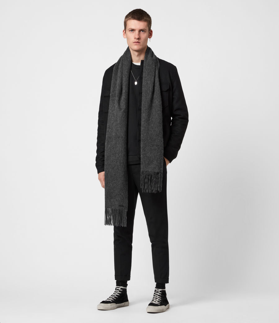 Men's Heavy Wool Blanket Scarf (cinder_black) - Image 1