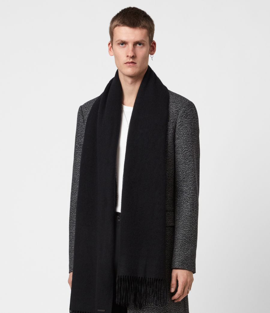 Mens Heavy Wool Blanket Scarf (black) - Image 1