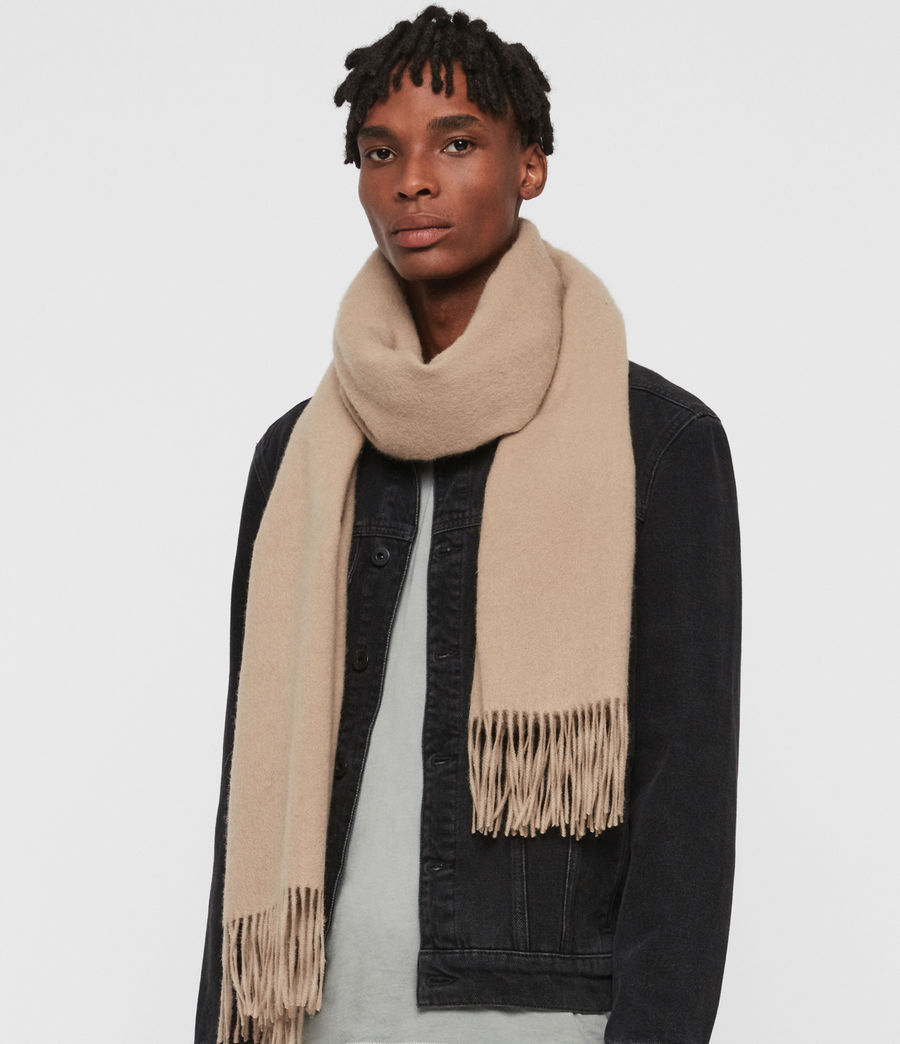 Men's Heavy Wool Blanket Scarf (fallow_taupe) - Image 2