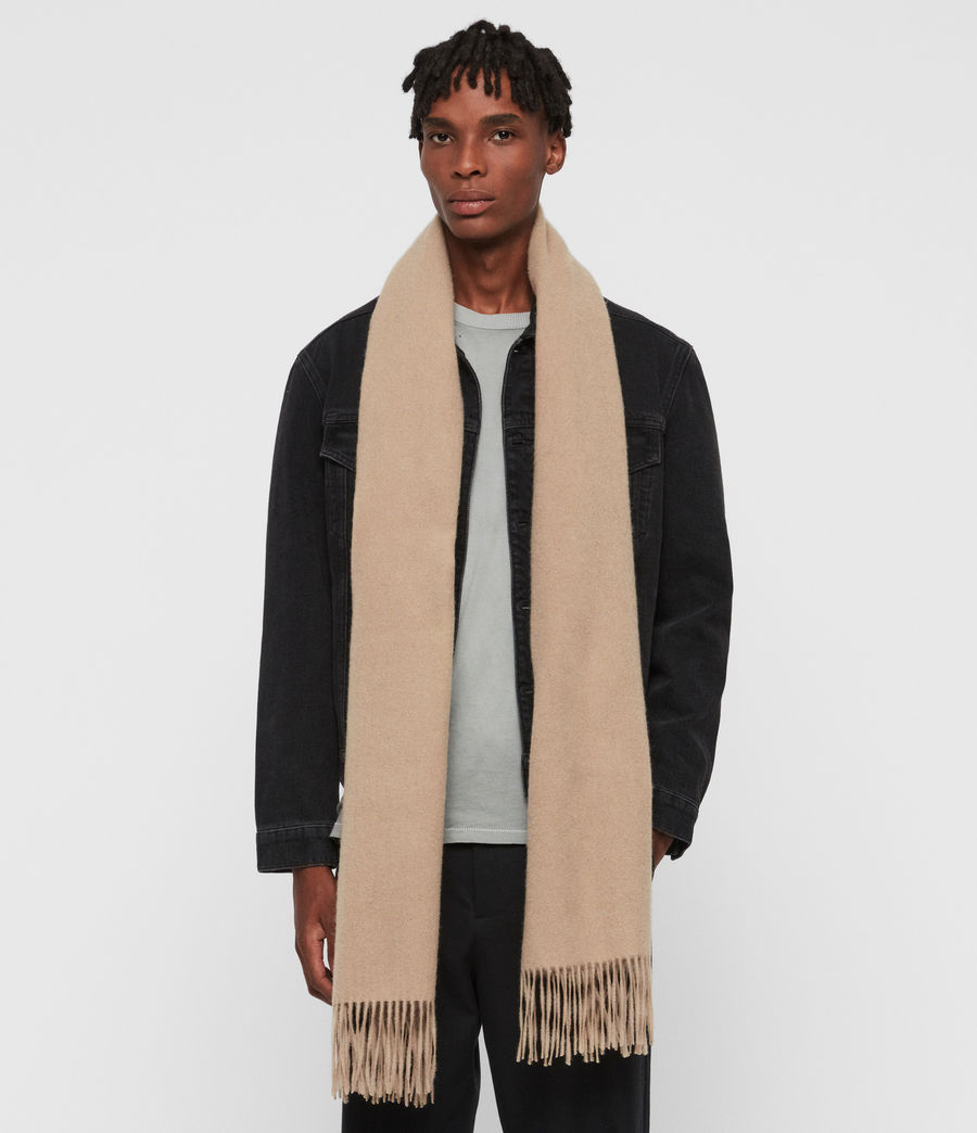 Men's Heavy Wool Blanket Scarf (fallow_taupe) - Image 3