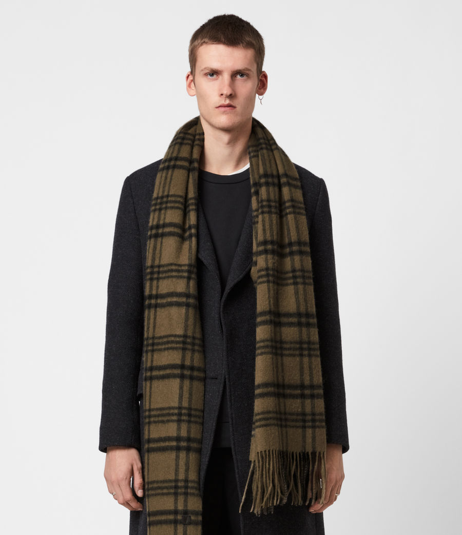 Men's Ash Wool Blanket Scarf (khaki_brown) - Image 1