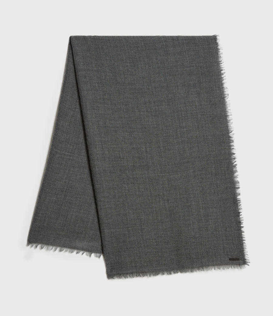 Mens Solid Twill Wool Scarf (dark_charcoal) - Image 1
