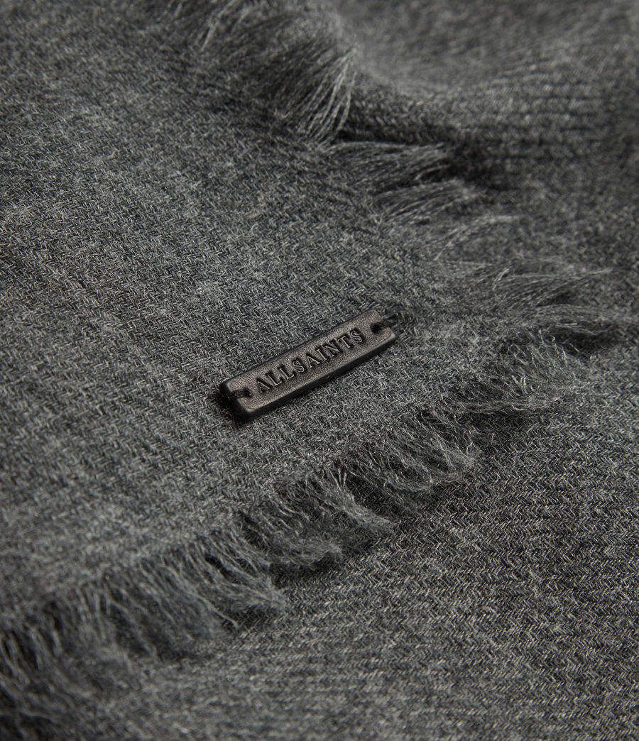 Mens Solid Twill Wool Scarf (dark_charcoal) - Image 2