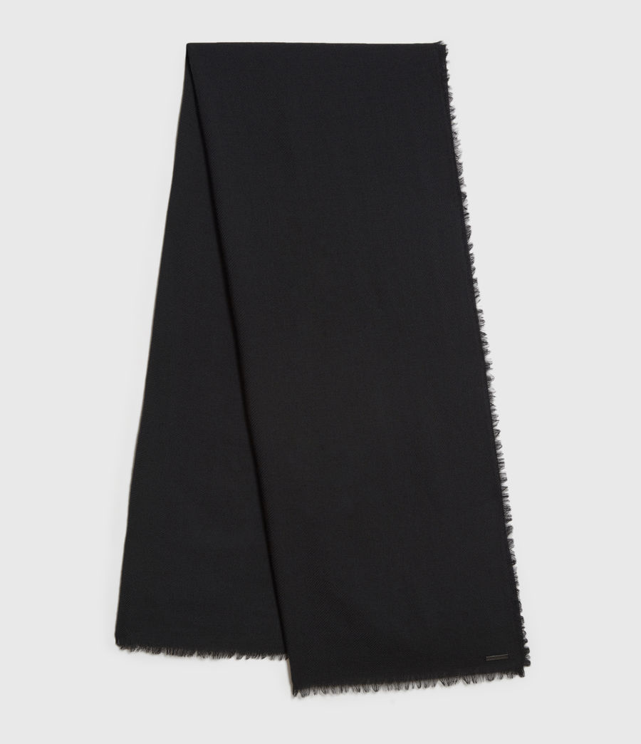 Mens Solid Twill Wool Scarf (black) - Image 1