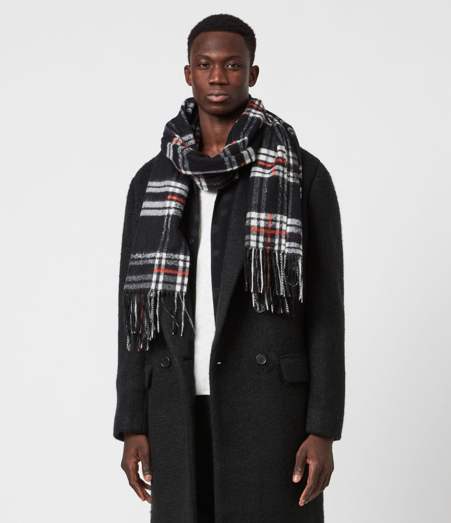 Mens Cheyne Plaid Wool Scarf (black) - Image 1