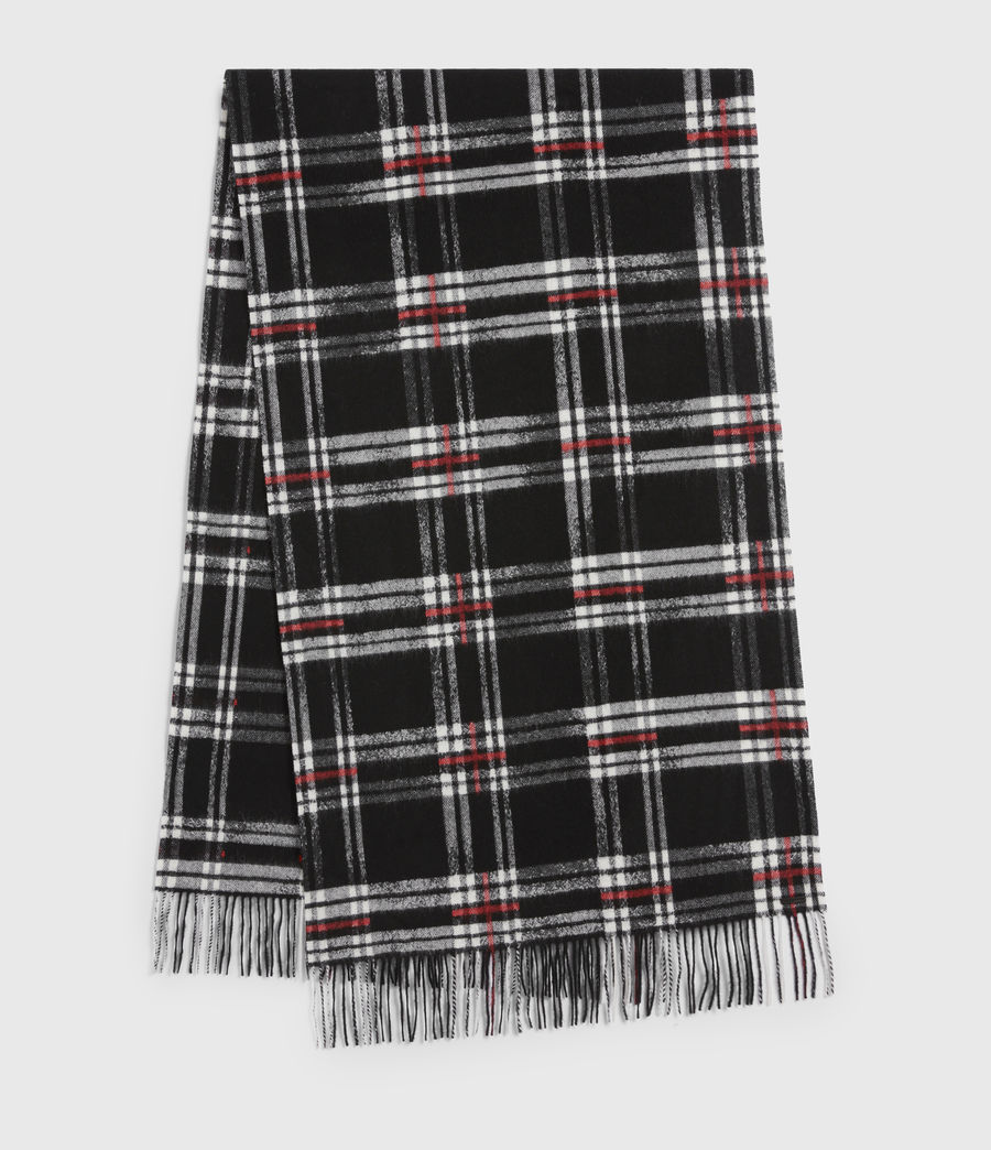 Mens Cheyne Plaid Wool Scarf (black) - Image 2