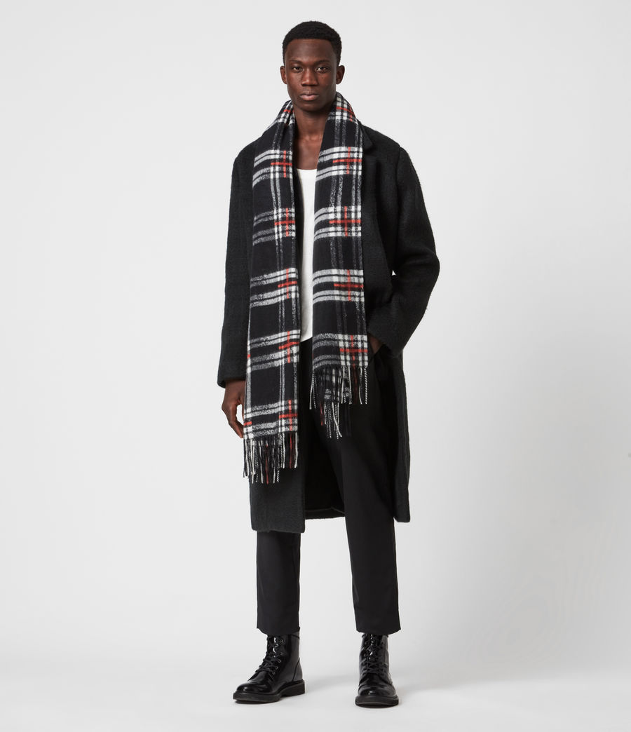 Mens Cheyne Plaid Wool Scarf (black) - Image 4