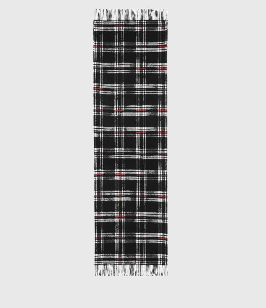 Men's Cheyne Plaid Wool Scarf (black) - Image 5