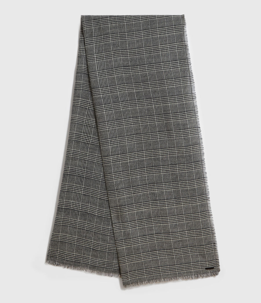 Mens Check Wool Woven Scarf (black) - Image 1