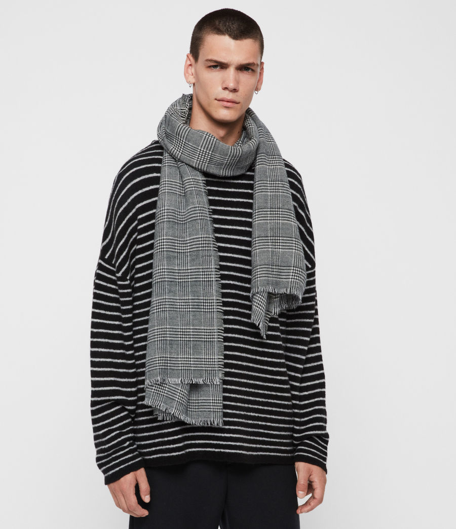 Mens Check Wool Woven Scarf (black) - Image 2