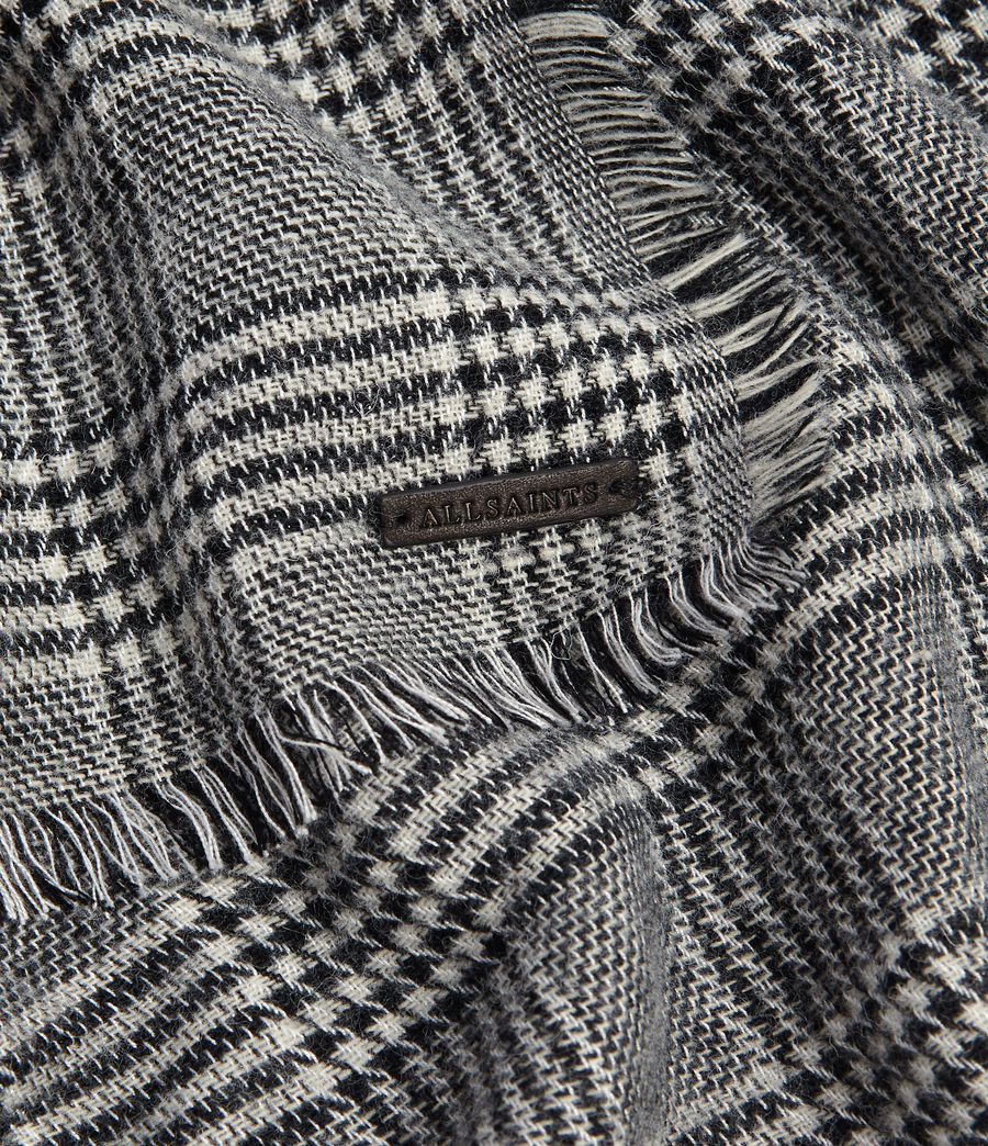 Men's Check Wool Woven Scarf (black) - Image 3