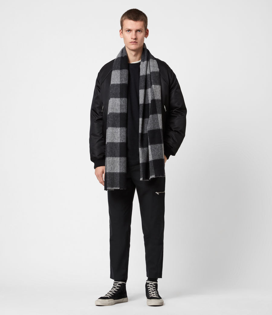 Mens Buffalo Check Wool Woven Scarf (grey_marl) - Image 1