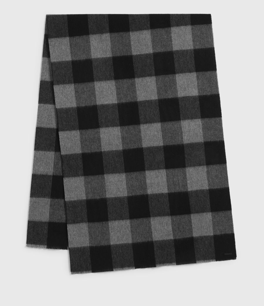 Mens Buffalo Check Wool Woven Scarf (grey_marl) - Image 2