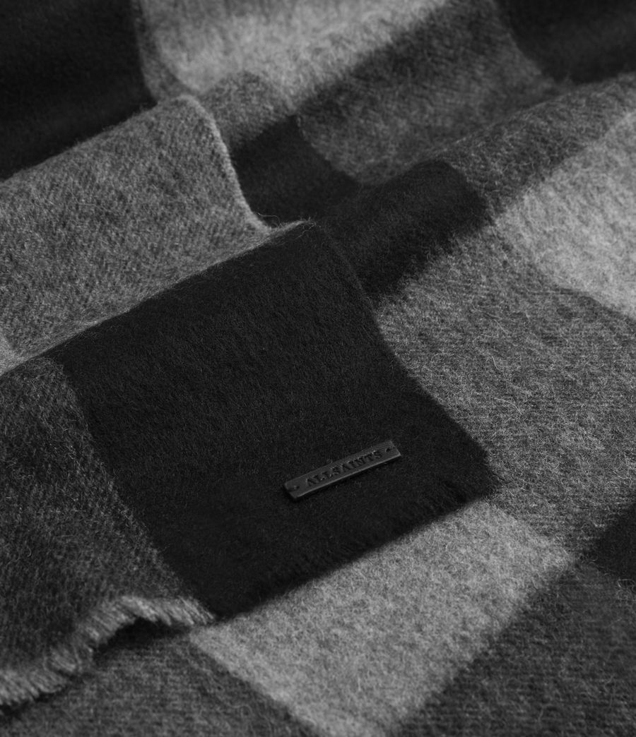 Mens Buffalo Check Wool Woven Scarf (grey_marl) - Image 3