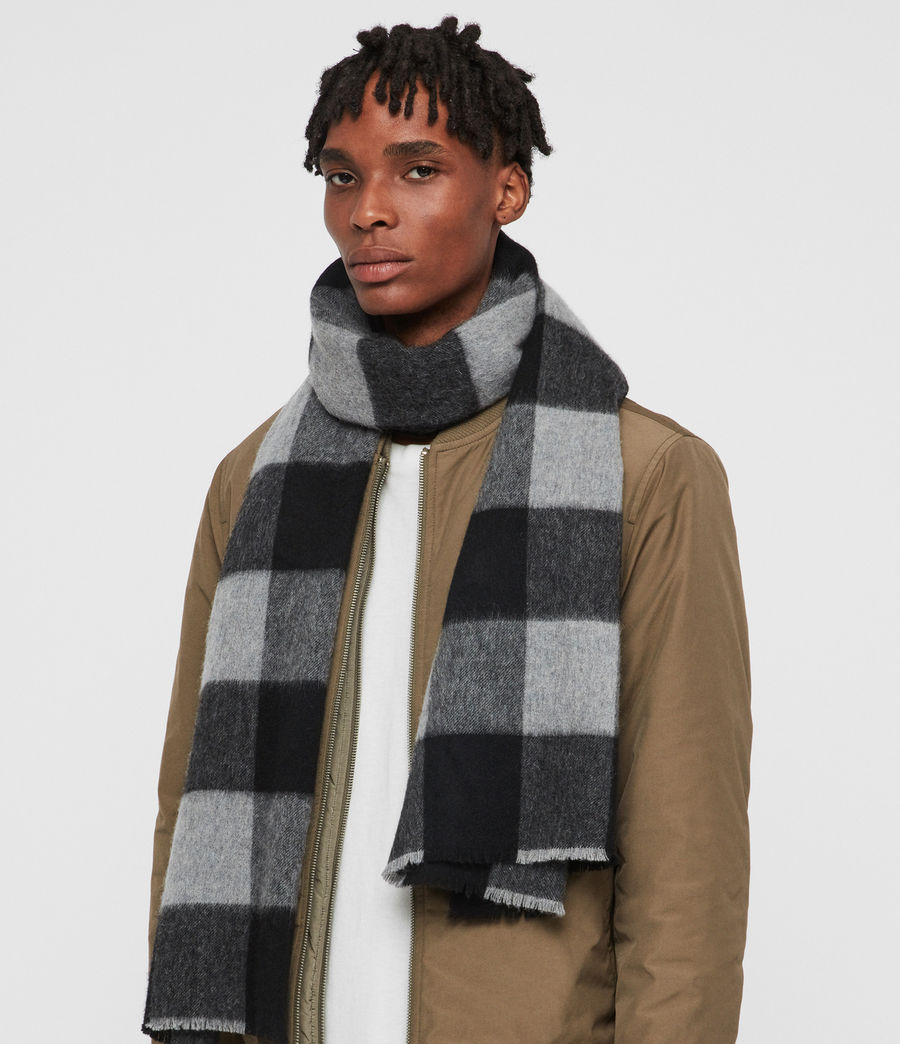 Mens Buffalo Check Woven Scarf (brick_red_black) - Image 2
