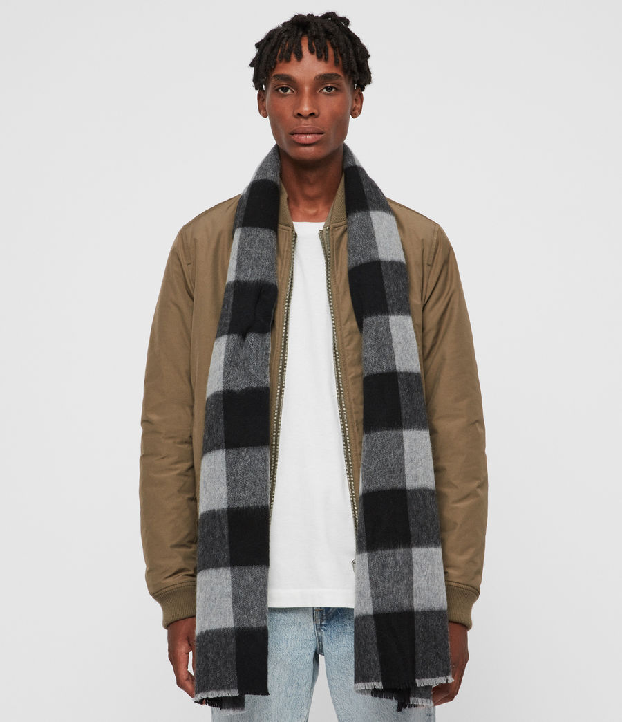 Mens Buffalo Check Woven Scarf (brick_red_black) - Image 3